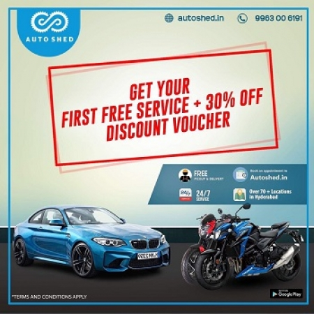 Get your 1st Free Car and Bike Online Repair services in Hyderabad +30%Off Discount Voucher – AutoShed
